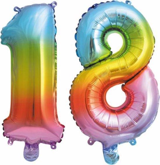 Folieballon nr. 18 Regenboog 41cm