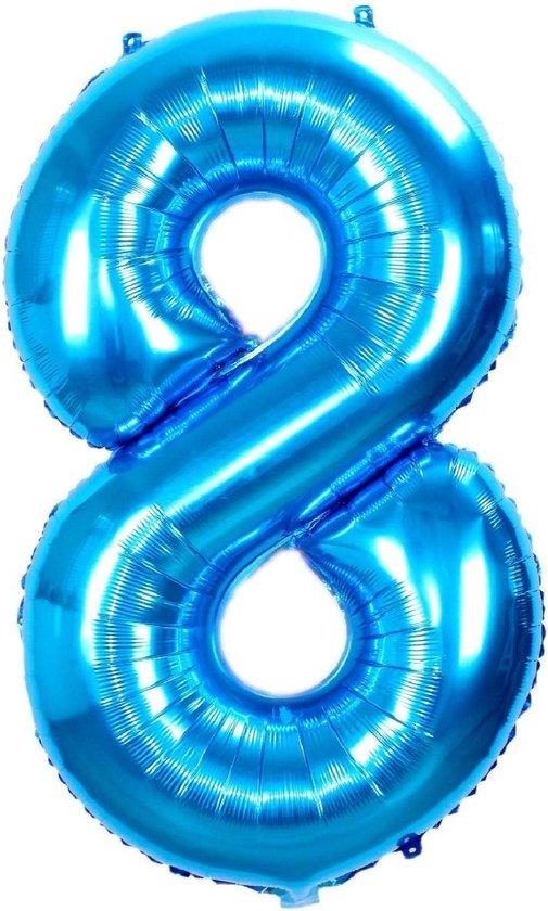 Folie Ballon Cijfer 8 Jaar Blauw 70Cm Folie Ballonnen Verjaardag Met Rietje