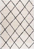 Hoogpolig vloerkleed - Grand Lines Creme/Zwart 80x150cm