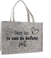 Vilten tas – de liefste juf – shopper zwart - Juf bedankt - Einde schooljaar cadeau - Juffendag cadeau - Cadeau voor de juf