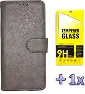 Samsung Galaxy A21S Hoesje Grijs - Hoge Kwaliteit Portemonnee Book Case & Glazen Screenprotector
