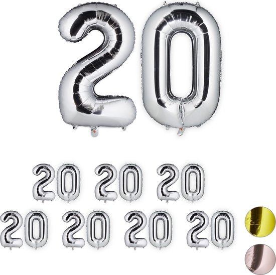relaxdays 8x folieballon getal 20 - luchtballon folie ballon - XXL cijferballon - zilver
