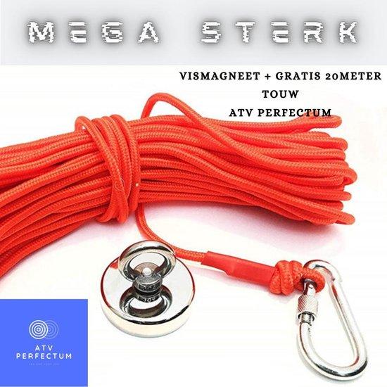 ATV PERFECTUM Vismagneet Set + 20 meter touw + Karabijnhaak 2020 - 110KG - 20m Touw - Magneetvissen starterspakket - Magneet - Magneten - 48MM - zoekmagneet - metaaldetector - metaalvissen - vismagneet met touw - neodymium