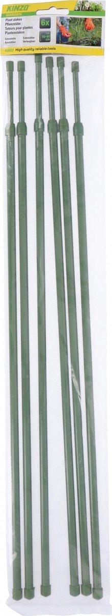 Kinzo Plantenstaken Verlengbaar 50-80 Cm Kunststof Groen 6 Stuks