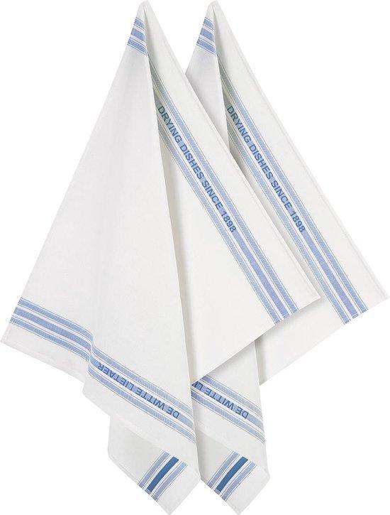 De Witte Lietaer Keukenhanddoek 65x70 Cm Katoen/linnen Wit/donkerblauw 2 Stuks