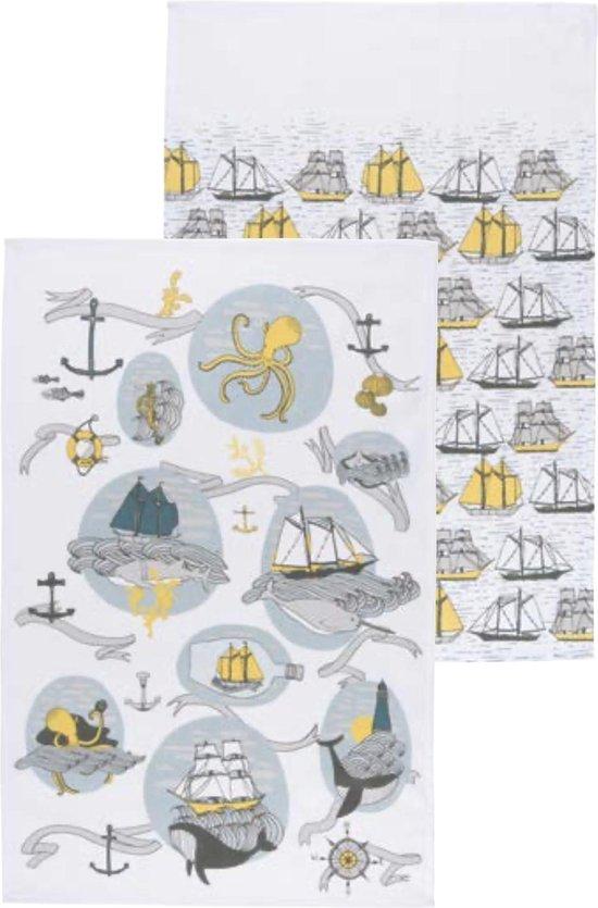 2 theedoeken met zeilschepen en walvissen - Seven Seas theedoek Danica Studio