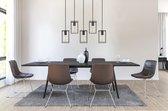 LIFA LIVING Industriële Hanglamp |  5-lichtse Plafondlamp |  Zwarte Hanglampen |  Moderne Metalen Verlichting |  Rechthoekige Hanglamp voor Woonkamer |  Slaapkamer |  Eetkamer |  E27