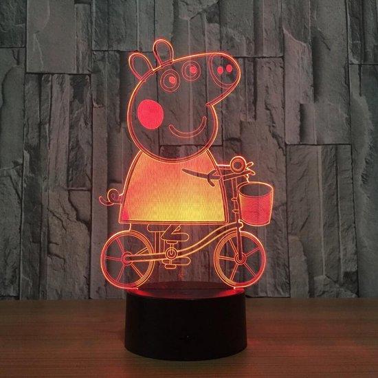 Peppa Pig 3D Lamp met afstandsbediening - Tafellamp - Lamp kinderkamer - Nachtlamp - LED