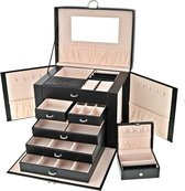 Behave® XXL Luxe Sieradendoos Dames – Bijouteriedoos Zwart– Juwelendoos Meisjes Met 36 Handige Opberg Vakjes