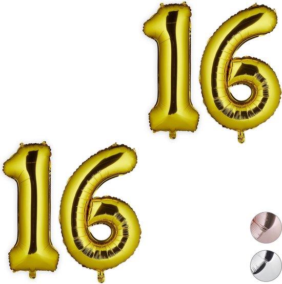 relaxdays 2x folie ballon 16 - cijfer ballon - groot - xxl ballon - verjaardag - goud