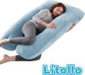 Zwangerschapskussen XXL | Voedingskussen | Lichaamskussen| 280cm | Zachte fleece stof | Afneembare hoes |Luxe opbergtas | Blauw