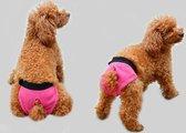 Hondenbroekje - luier voor teef - loopsheid - ongesteldheid - wasbaar - PINK - EXTRA SMALL