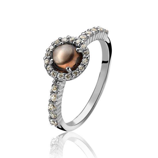 Zinzi - Zilveren Ring - Bruine Steen - Zirkonia - Maat 62 (ZIR1039C62)
