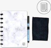 GreenBook - Whiteboard Notebook - A5 Lijn - Marble - met doekje