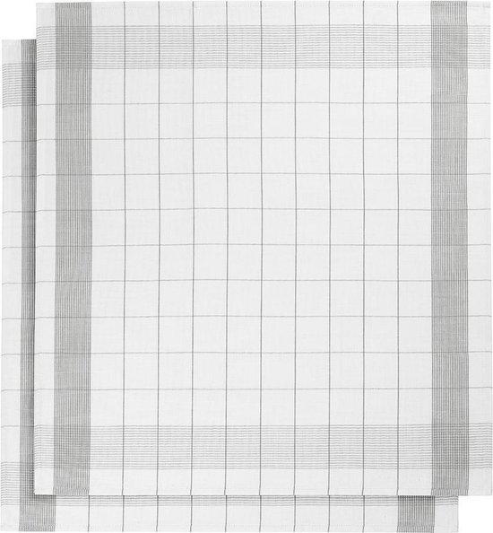 De Witte Lietaer Mixte - keukenhanddoek Theedoek - 68x68 cm - Set van 2 - White-Grey