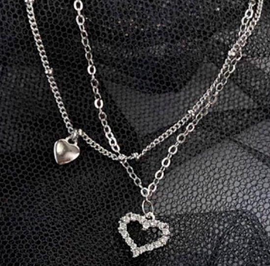 Zilveren -Enkelkettinkje- Strass_ Hartje- Dames- Tiener- 20 cm