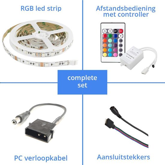 PC led strip set RGB - 5 meter led strip Premium
