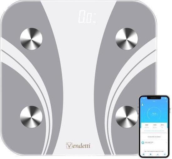 Vendetti WF38E Smartscale – Slimme weegschaal – Digitale weegschaal – Personenweegschaal/lichaamsanalyseweegschaal – Wit – E-boek inbegrepen – Wifi verbinding