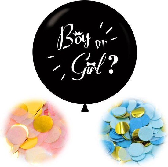 Gender Reveal Ballon Zwart met Roze en Blauwe confetti Boy or Girl Babyshower Decoratie Baby Shower Versiering