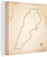 Illustratie van een kaart van Libanon canvas 20x20 cm - klein - Foto print op Canvas schilderij (Wanddecoratie woonkamer / slaapkamer)