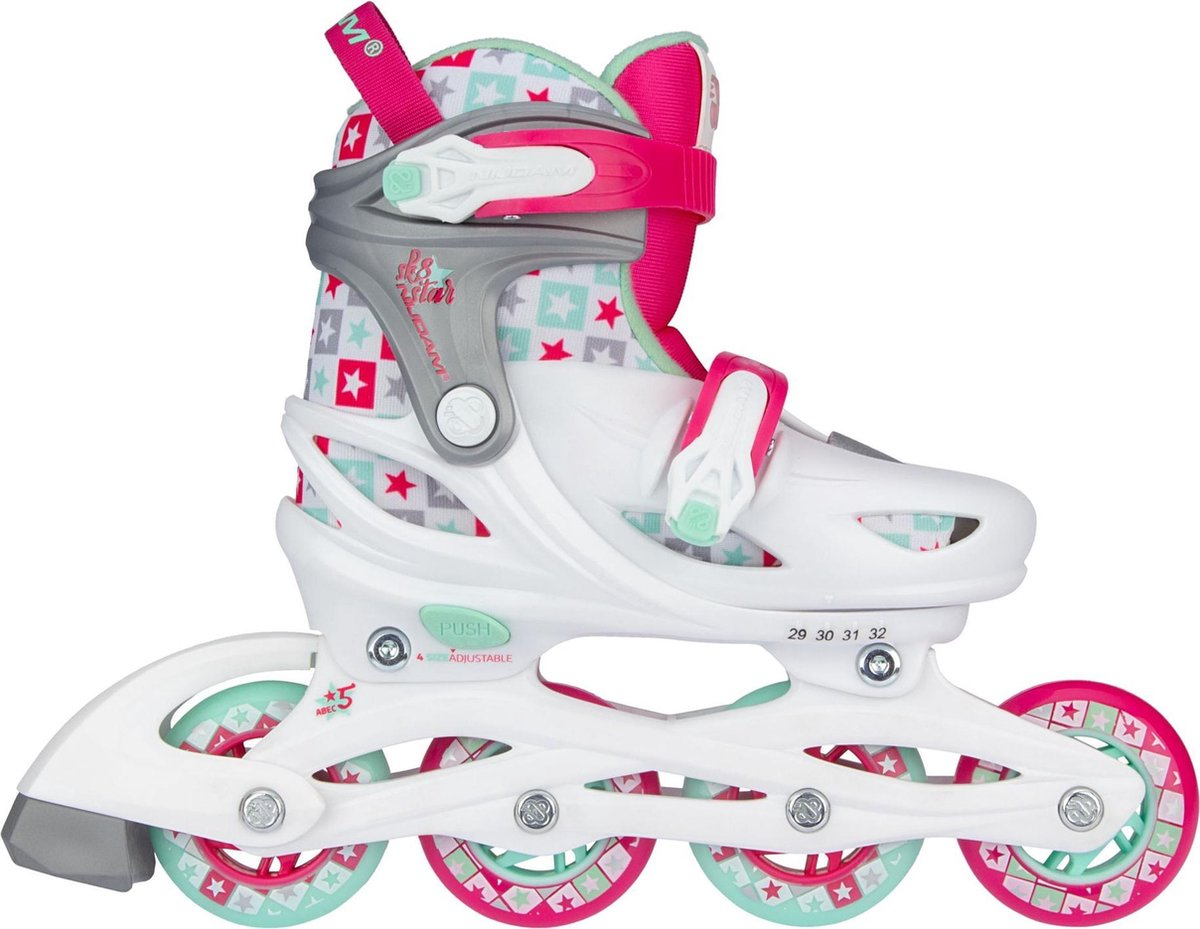 Nijdam Inline Skates Verstelbaar - Sk8 Star - Wit/Fuchsia/Mintgroen/Zilvergrijs - 25-28