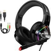 URGOODS® Gaming Headset met Microfoon - Headset/Microfoon - Headset PS4 - Gaming headset Xbox One, Nintendo Switch, en PC - Gaming headset 4D - Zwart
