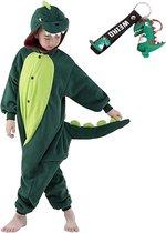 Onesie Draak groen huispak verkleedpak Dino kostuum kinderen - 128-134 (130) + hanger verkleedkleding