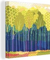 Een illustratie van groene bomen in een bos canvas 50x50 cm - Foto print op Canvas schilderij (Wanddecoratie woonkamer / slaapkamer) / Bomen Canvas Schilderijen