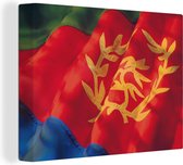 De vlag van Eritrea canvas 80x60 cm - Foto print op Canvas schilderij (Wanddecoratie woonkamer / slaapkamer)