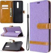 Voor xiaomi redmi k30 kleuraanpassing denim textuur horizontale flip lederen case met houder & kaartsleuven & portemonnee & lanyard (paars)