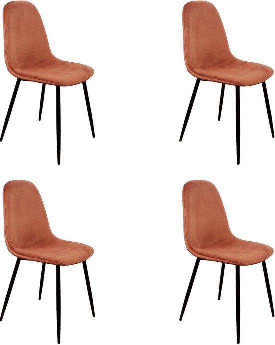 PoleWolf - Blossom stoel - Velvet - Koper - Promotie - Set van 4