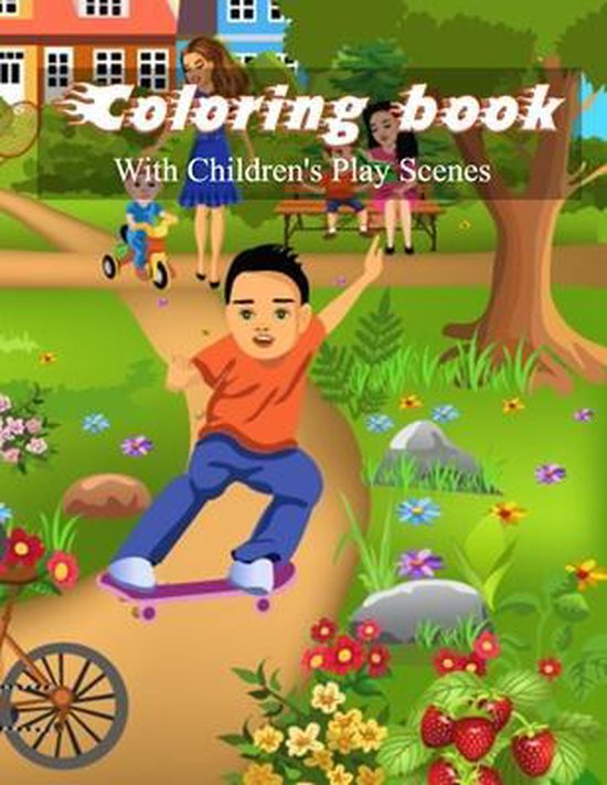 Coloring book with children's play scenes