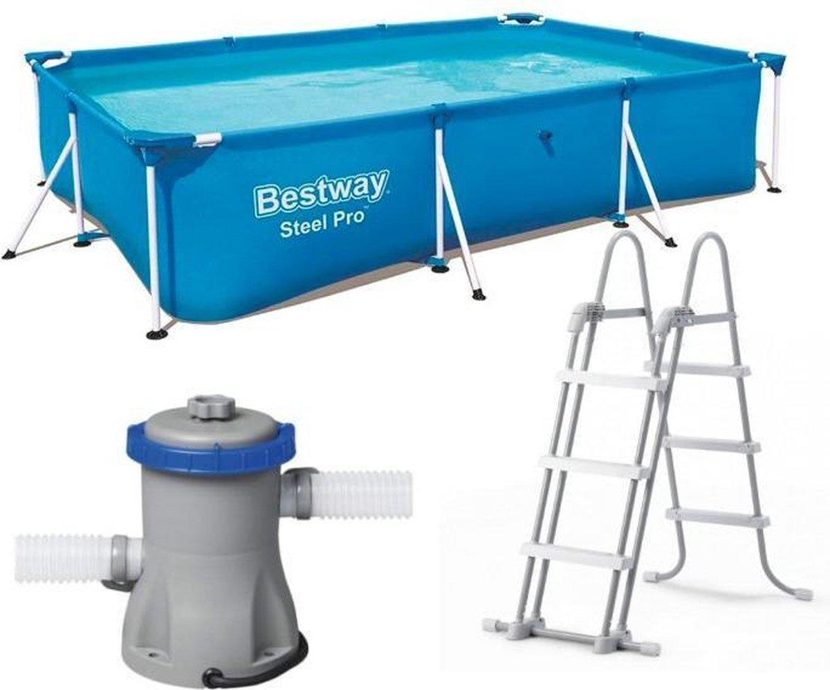 Zwembadset Bestway Steel Pro 300 x 200 x 66 cm + Pomp + Trap