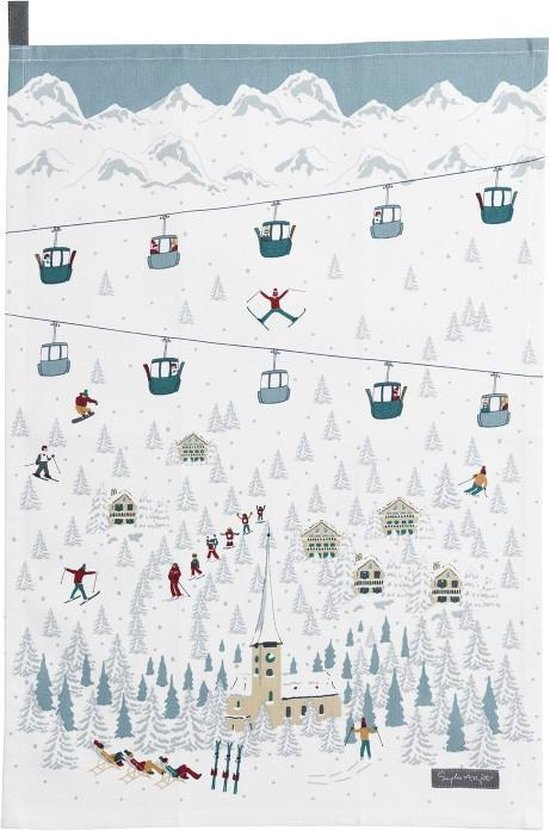 theedoek skien - Sophie Allport Skiing Tea Towel