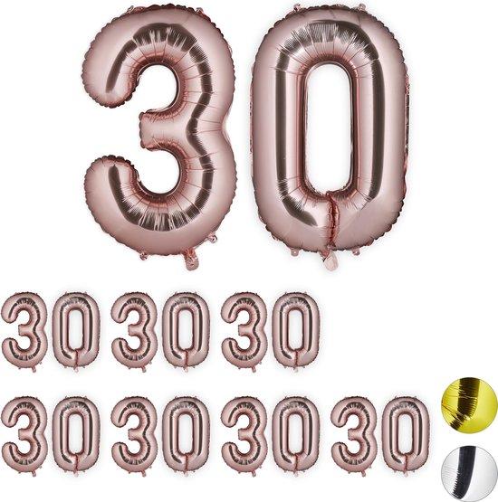 relaxdays 8x folie ballon cijfer 30 - XXL cijferballon - getal - verjaardag - rosegoud