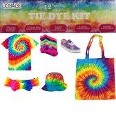 Tie Dye Kit - 12 kleuren - Tie dye verf in flesjes - Complete Tie dye set - Batik Verf Paket - Textielverf