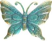 1x Tuindecoratie vlinder van metaal turquoise/goud 22 cm - Metalen schutting decoratie vlinders - Dierenbeelden tuindecoratie