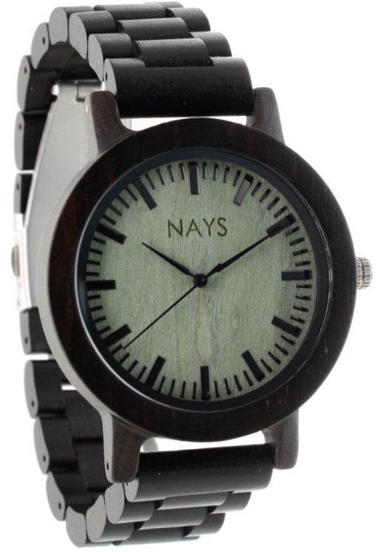 NAYS – Houten Unisex Horloge – Donkerbruin – Classic – Ø 45mm (productvideo)