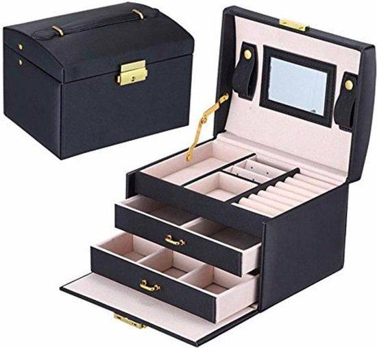 Luxe sieradendoos met spiegel - Juwelen doos voor sieraden (ring, ketting, oorbellen, horloge) - Dames bijouterie doos - Zwart