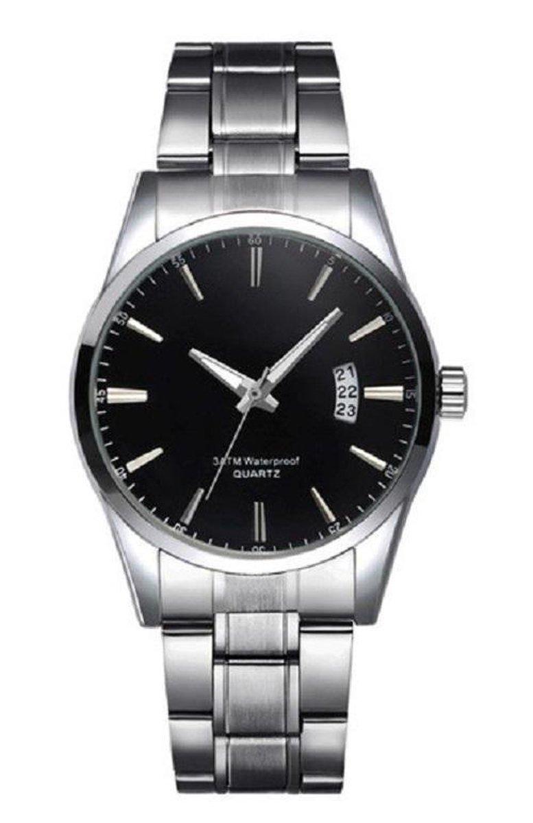 Stijlvol heren Horloge - 40 mm- zwart - I-deLuxe verpakking - I-deLuxe