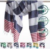 ANATURES Strandlaken -Hamamdoek XL MARINA 95x185 cm | Hamam strandlaken, Badlaken, Sauna handdoek, Fouta pareo, Yoga handdoek | Biologische katoen | Navy Blauw/Rood