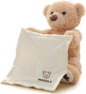 Moozly® Kiekeboe beer - Pratende knuffel - Interactieve knuffel  - Kiekeboe knuffel - Peek a boo - Beer - 30cm
