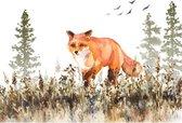 Canvas Schilderij Walking Fox