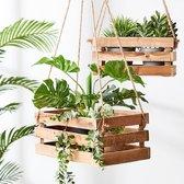 Plantenhanger 38x20x15cm | Houten Krat | Handgemaakt | Planten-houder / Hang-plant | Planten Accessoires | Hout |