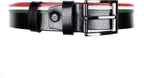 Leren Riem 4 cm Breed Zwart Met Italiaanse Vlag – Dames Riem of Heren Riem – Maat 110 (Taille tot 95 cm)