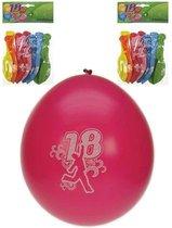 8x stuks verjaardag ballonnen 18 jaar thema - Verjaardag feestartikelen en versieringen