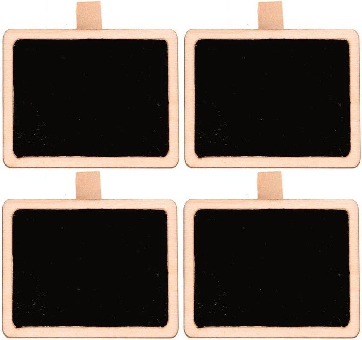 Merkloos / Sans marque 4x Houten mini krijtbordje/schrijfbordje/memobordje rechthoek op knijper 5 cm Hobby/knutselbenodigdheden tekenbord Home deco Woonaccessoires/decoratie online kopen