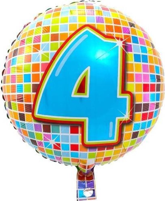 Folieballon 4 JAAR Birthday blocks 43 cm