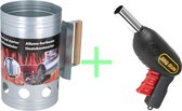Houtskoolstarter met Barbecue starter gun  - Metaal - 17x27.5cm - Let op! Gun is geen aansteker !