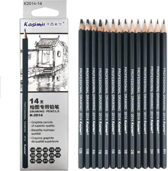 Afbeelding van Professionele Grafiet Tekenpotloden & Schetspotloden - Set 14 stuks